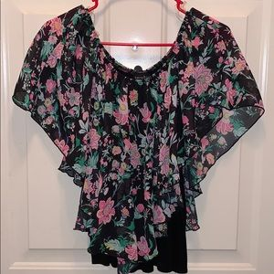 Floral and black blouse